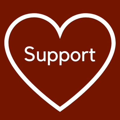 "Heart with the word ""support"" in the middle"