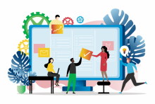 A colourful illustrated graphic showing five people of diverse ethnicities in front of a large computer screen. They are holding icons representing planning and teamwork, such as a checkmark, a graph and an idea lightbulb. They are collaborating together.