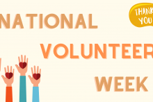 "National Volunteer Week. A speech bubble says ""thank you"". Four illustrated hands are raised with hearts on them."