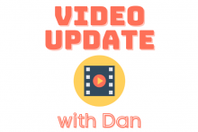 video update with Dan. A movie reel on an orange background with a play icon in front.